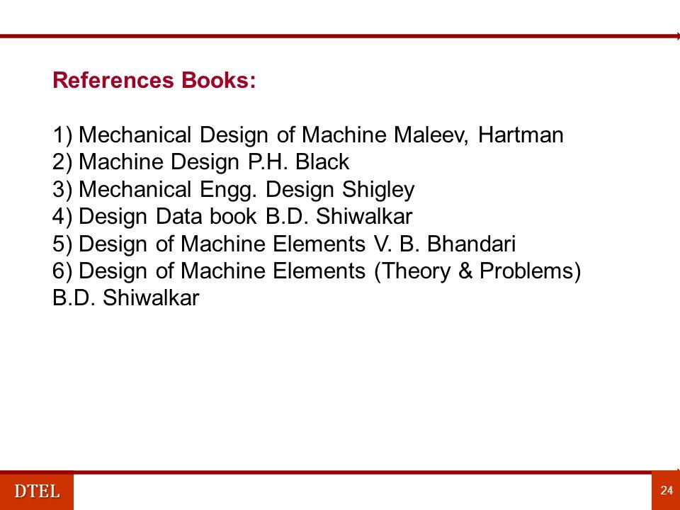 DTEL References Books: 1) Mechanical Design of Machine Maleev, Hartman 2) Machine Design P.H.