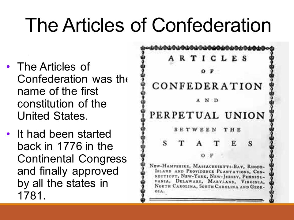 a history on the articles of confederation and constitution in united states