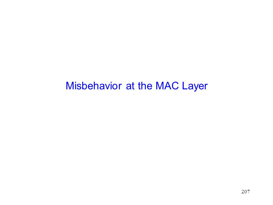 207 Misbehavior at the MAC Layer
