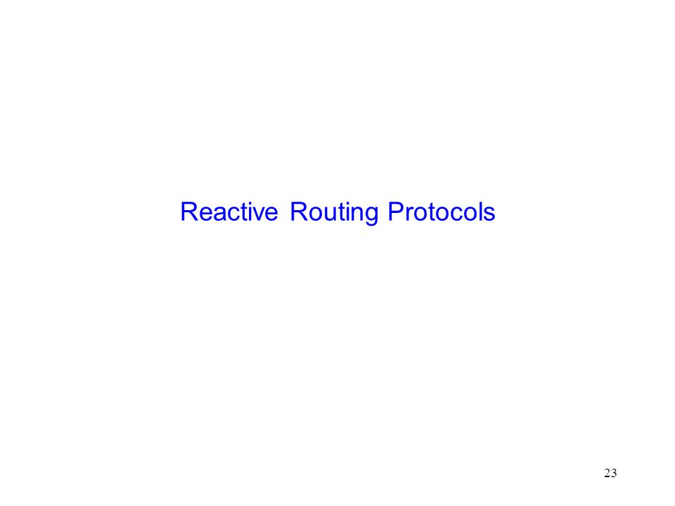 23 Reactive Routing Protocols