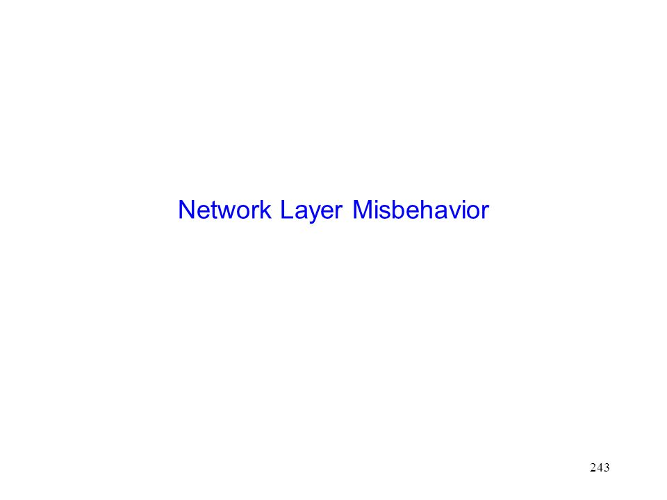 243 Network Layer Misbehavior