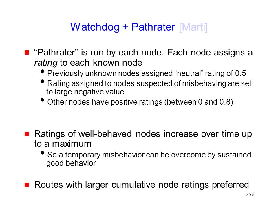 256 Watchdog + Pathrater [Marti]  Pathrater is run by each node.