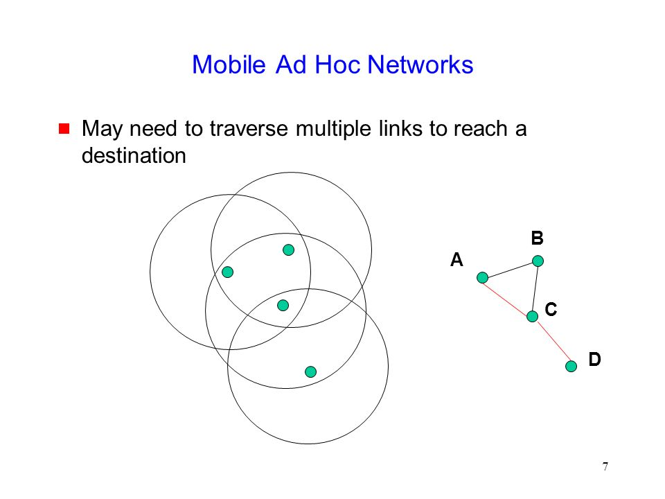 7 Mobile Ad Hoc Networks  May need to traverse multiple links to reach a destination A B C D