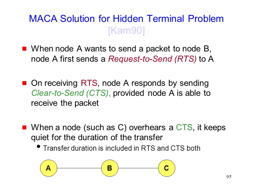 95 MACA Solution for Hidden Terminal Problem [Karn90]  When node A wants to send a packet to node B, node A first sends a Request-to-Send (RTS) to A  On receiving RTS, node A responds by sending Clear-to-Send (CTS), provided node A is able to receive the packet  When a node (such as C) overhears a CTS, it keeps quiet for the duration of the transfer  Transfer duration is included in RTS and CTS both ABC