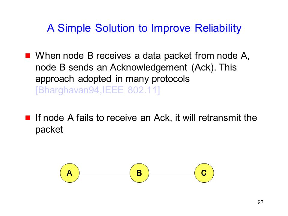 97 A Simple Solution to Improve Reliability  When node B receives a data packet from node A, node B sends an Acknowledgement (Ack).