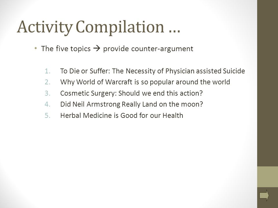 counter arguments ms tanner rm fall expanding your position  the five topics  provide counter argument 1 to die or
