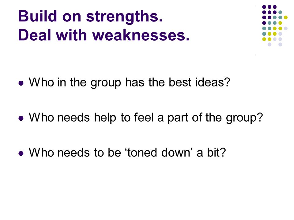 Expect different roles In some group work, you will have the leadership role.