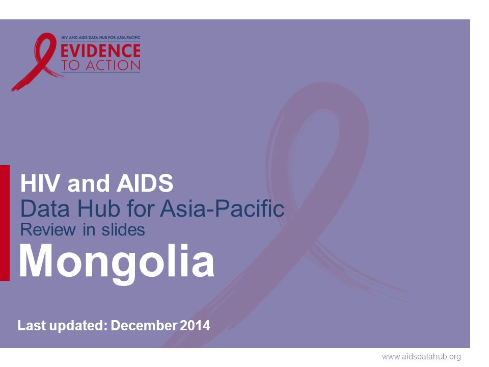 www.aidsdatahub.org HIV and AIDS Data Hub for Asia-Pacific Review in slides Mongolia Last updated: December 2014