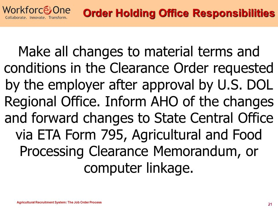 Agricultural Recruitment System: The Job Order Process ...