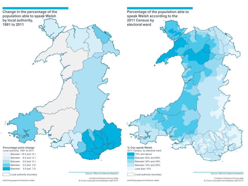 Dyddiad Comisiynydd Y GymraegWelsh Language Commissioner Maps - Welsh language map