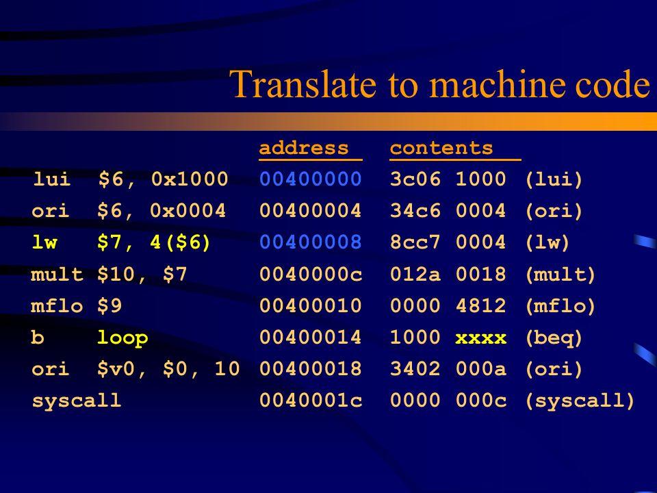 Translate to machine code lui $6, 0x1000 ori $6, 0x0004 lw $7, 4($6) mult $10, $7 mflo $9 b loop ori $v0, $0, 10 syscall address contents 00400000 3c0