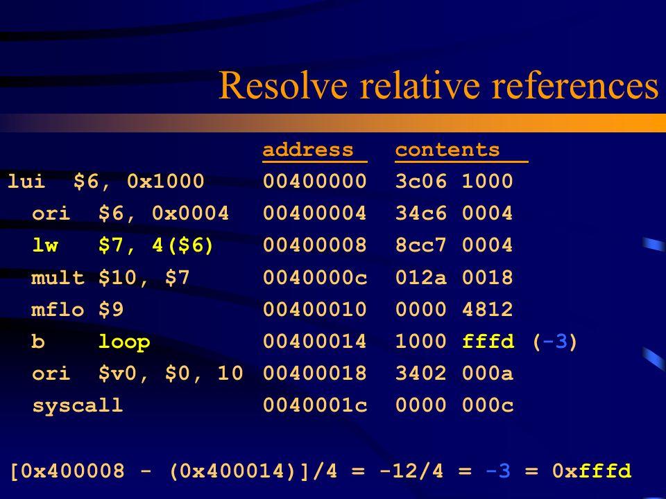 Resolve relative references lui $6, 0x1000 ori $6, 0x0004 lw $7, 4($6) mult $10, $7 mflo $9 b loop ori $v0, $0, 10 syscall address contents 00400000 3