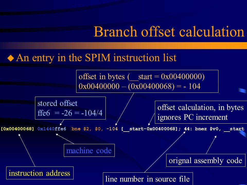 Branch offset calculation [0x00400068] 0x1440ffe6 bne $2, $0, -104 [__start-0x00400068]; 44: bnez $v0, __start u An entry in the SPIM instruction list