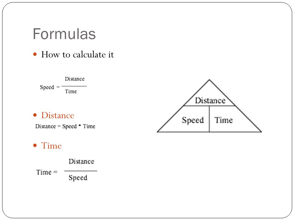 Formulas How to calculate it Distance Time