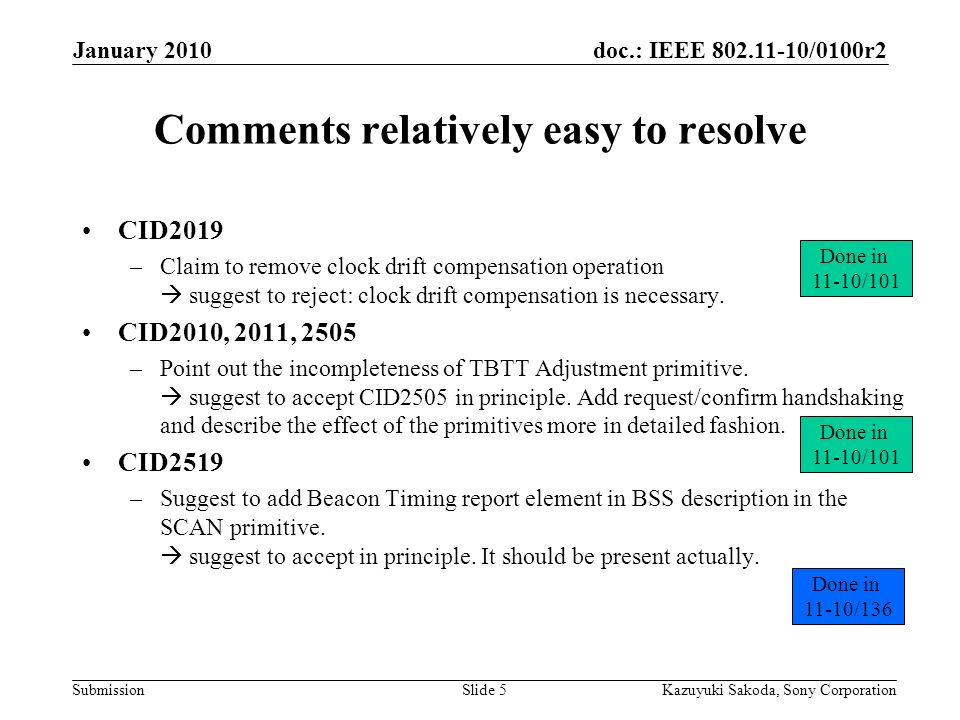 doc.: IEEE /0100r2 Submission January 2010 Kazuyuki Sakoda, Sony CorporationSlide 5 Comments relatively easy to resolve CID2019 –Claim to remove clock drift compensation operation  suggest to reject: clock drift compensation is necessary.