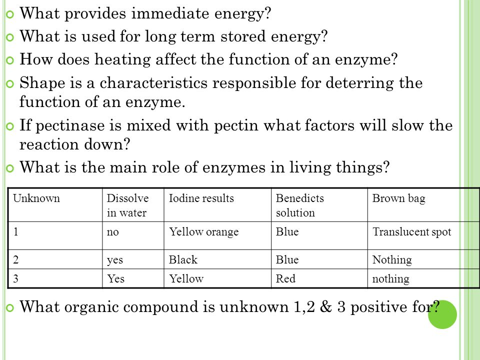 What provides immediate energy. What is used for long term stored energy.
