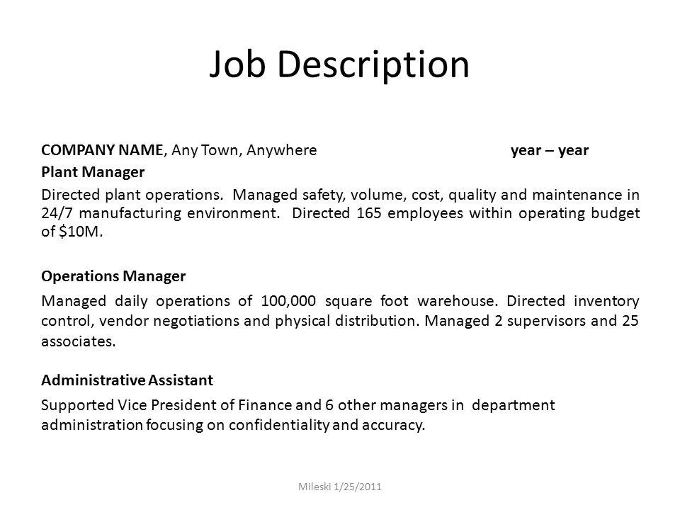 14 job description - Vice President Of Manufacturing Job Description