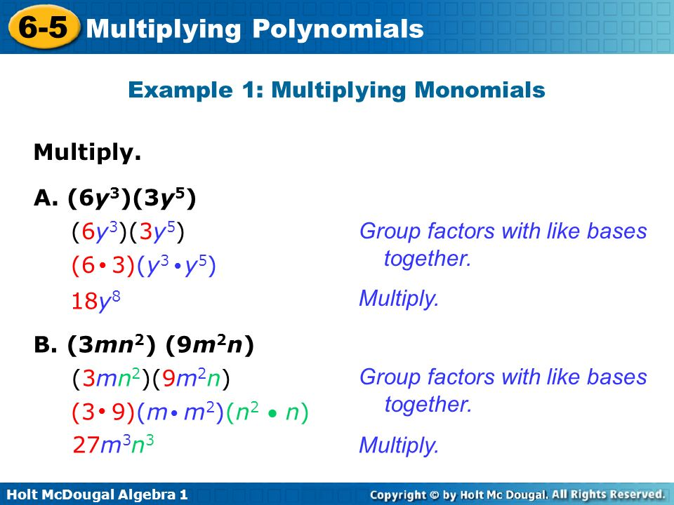 Holt McDougal Algebra Multiplying Polynomials Warm Up Evaluate – Multiply Monomials Worksheet