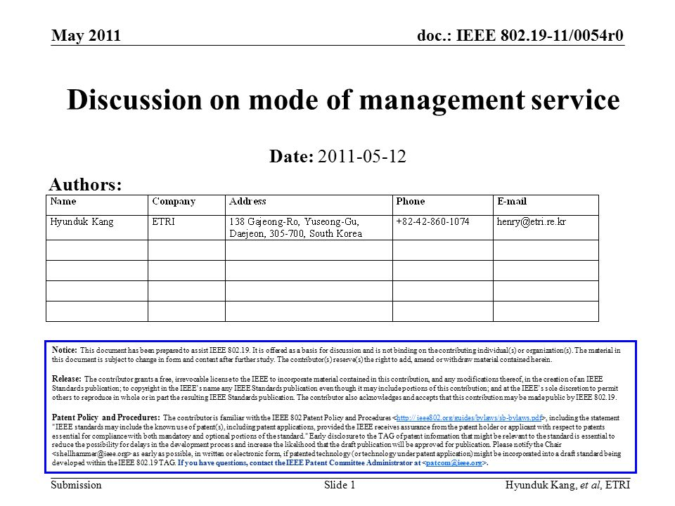 doc.: IEEE /0054r0 Submission May 2011 Slide 1Hyunduk Kang, et al, ETRI Discussion on mode of management service Notice: This document has been prepared to assist IEEE