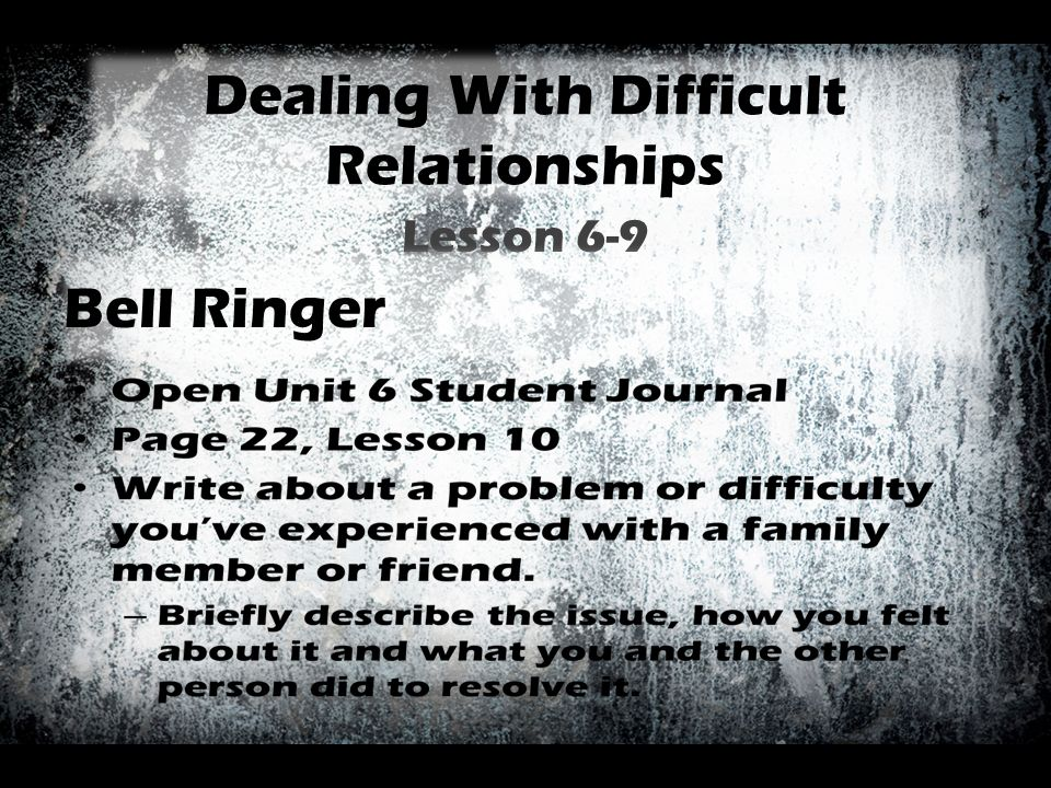 Dealing With Difficult Relationships Lesson 6-9 Bell Ringer