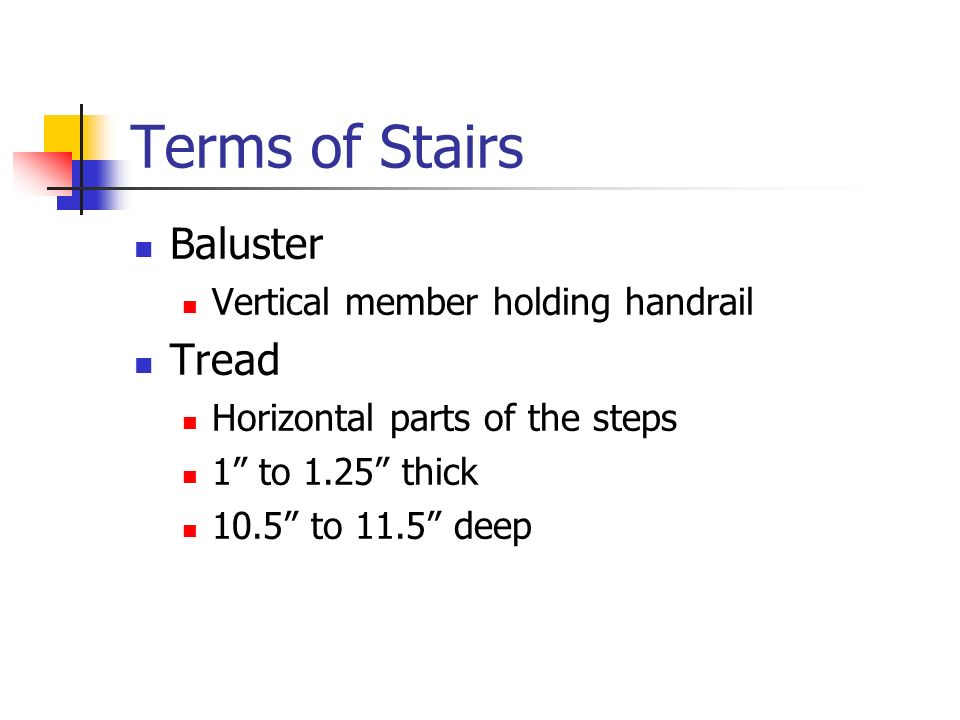 "Terms of Stairs Baluster Vertical member holding handrail Tread Horizontal parts of the steps 1"" to 1.25"" thick 10.5"" to 11.5"" deep"