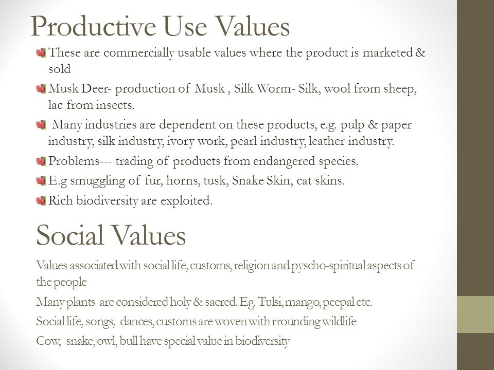 Productive Use Values These are commercially usable values where the product is marketed & sold Musk Deer- production of Musk, Silk Worm- Silk, wool from sheep, lac from insects.