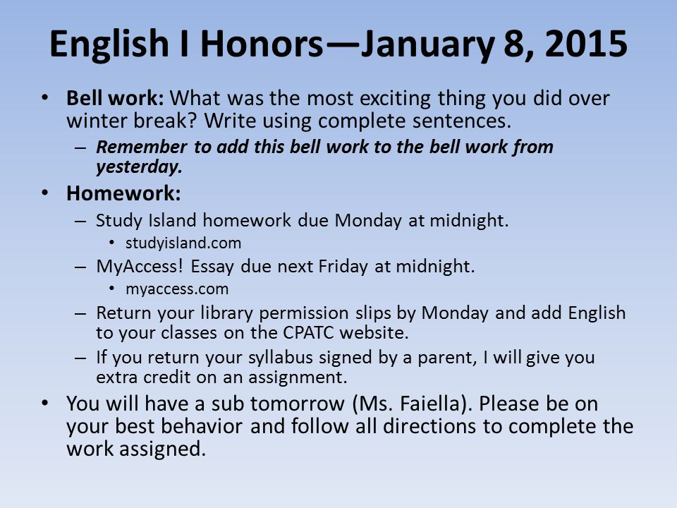 english i honors bell work what was the most  1 english