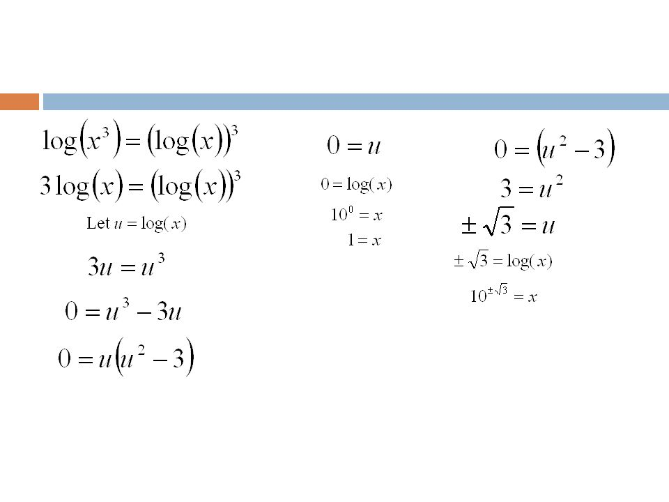 Example 5: Solve the following equations: