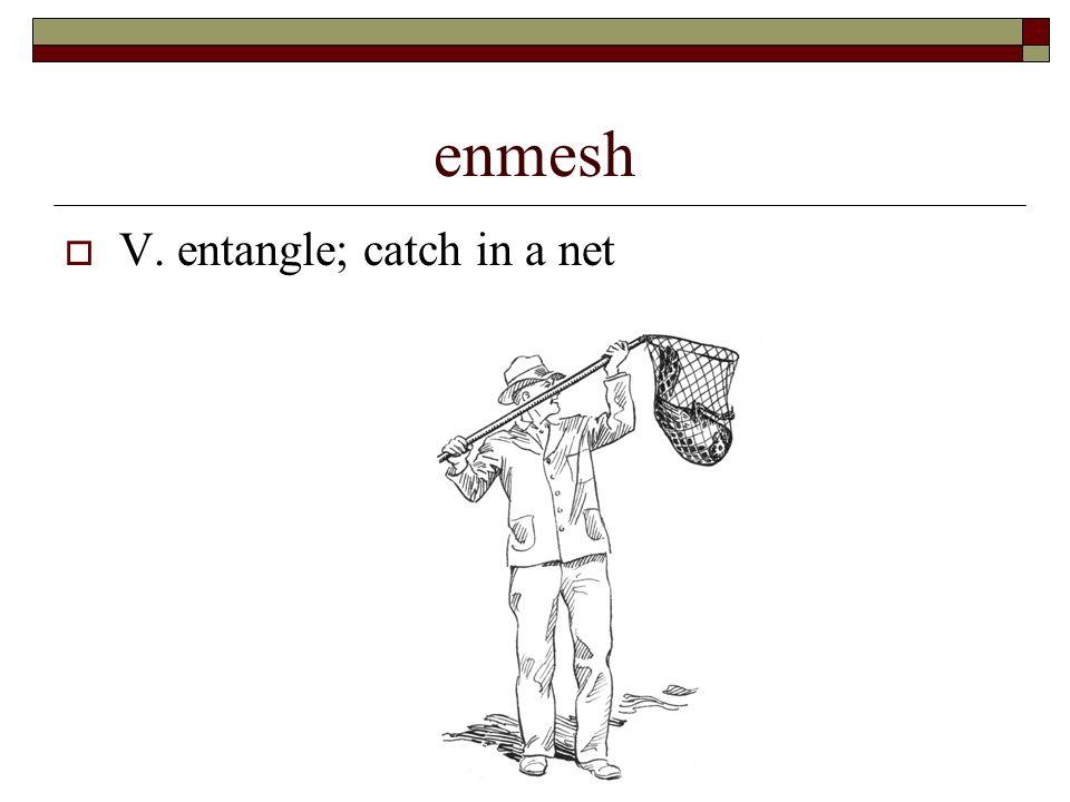 4 Enmesh  V. Entangle; Catch In A Net