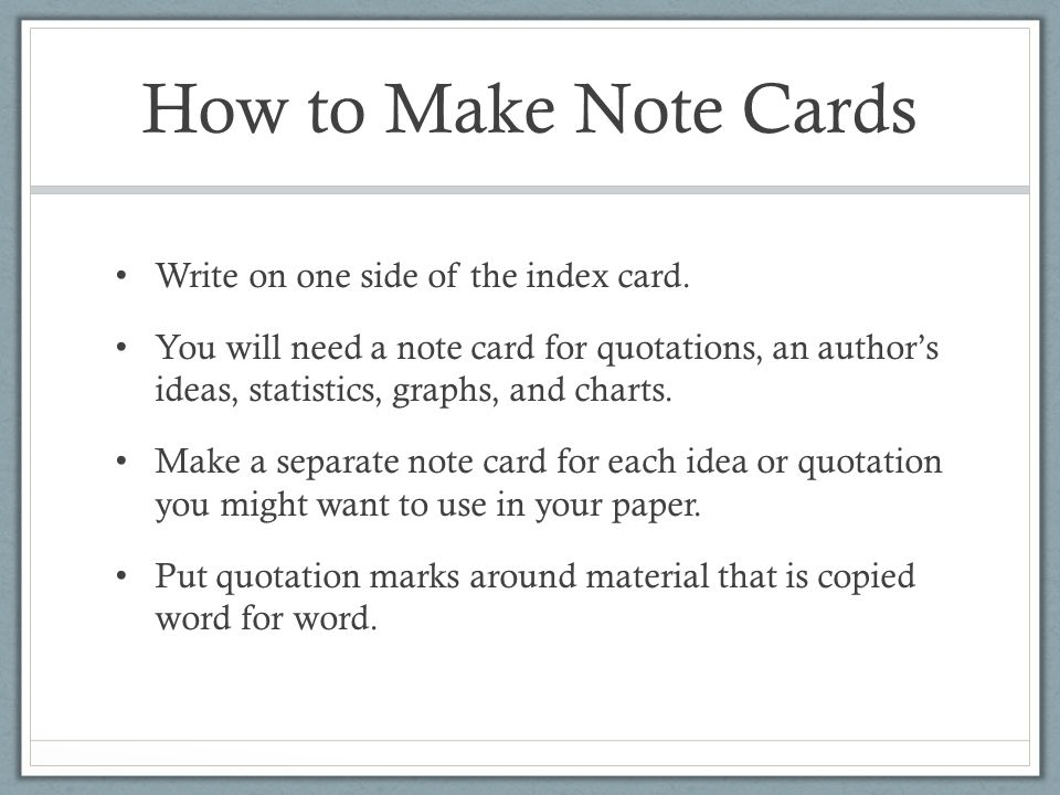 How to Take Notes Using Index Cards for an APA