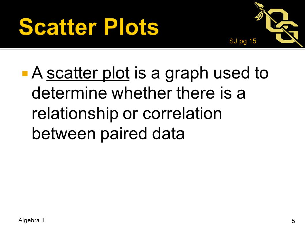 Write the equation of the line in standard form that passes through 5 a scatter plot is a graph used to determine whether there is a relationship or correlation between paired data algebra ii 5 sj pg 15 falaconquin