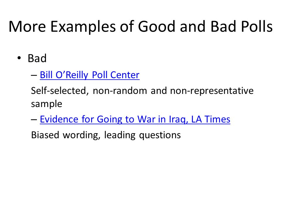 More Examples of Good and Bad Polls Bad – Bill O'Reilly Poll ...