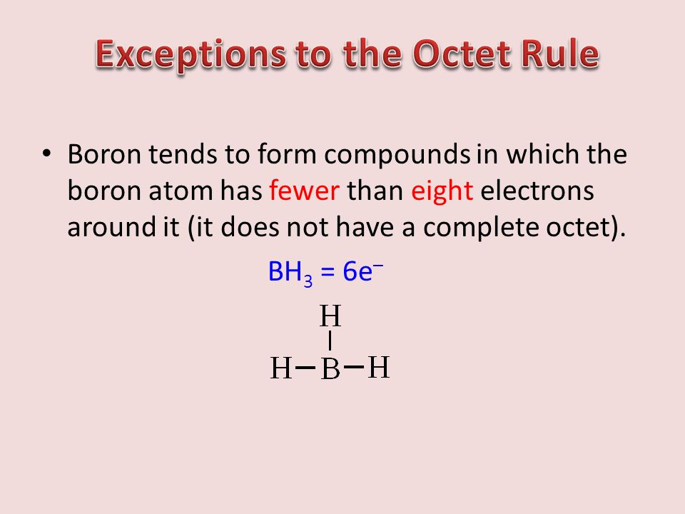 Boron tends to form compounds in which the boron atom has fewer than eight electrons around it (it does not have a complete octet).