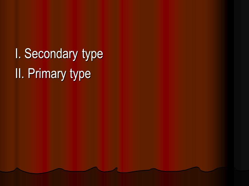 I. Secondary type II. Primary type