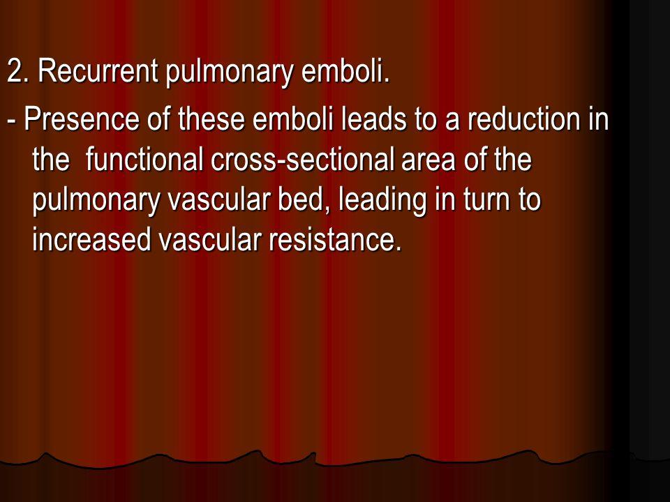 2. Recurrent pulmonary emboli.