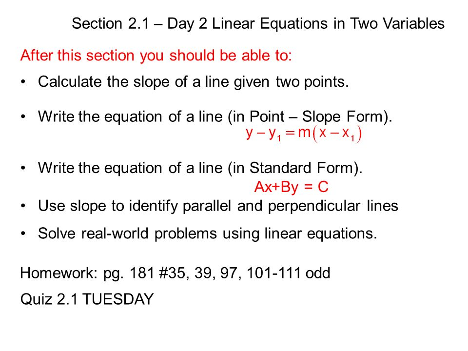 Section 21 Day 2 Linear Equations In Two Variables Warm Up