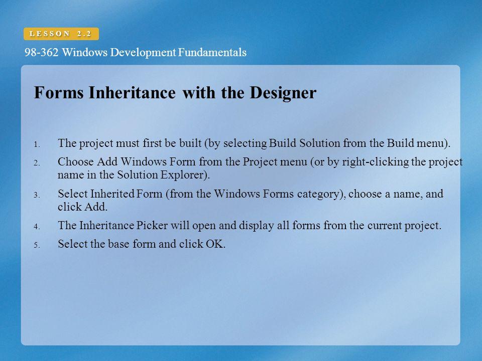 Understand Windows Forms Inheritance Windows Development ...