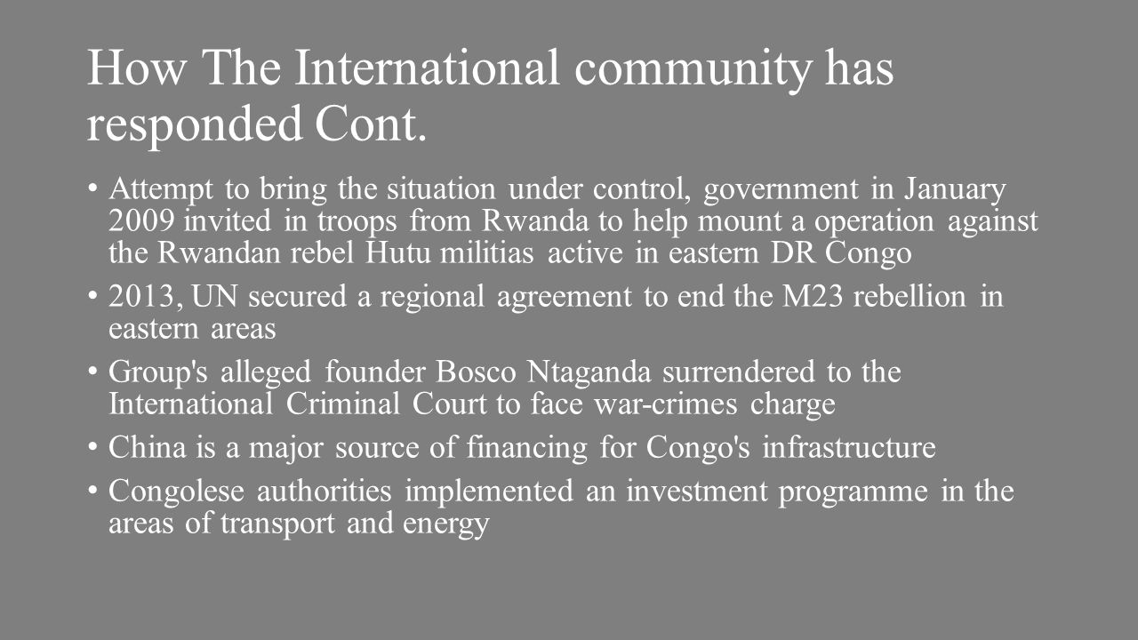 How The International community has responded Cont.