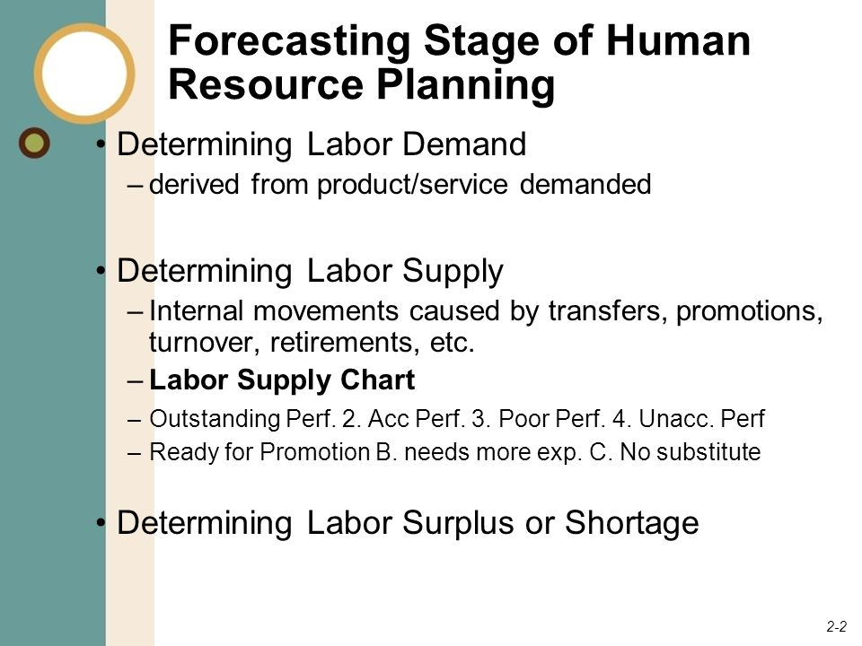 stages in human resource planning forecasting goal setting and 2 2 forecasting stage of human resource planning determining labor demand derived from product
