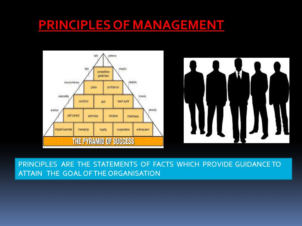 PRINCIPLES ARE THE STATEMENTS OF FACTS WHICH PROVIDE GUIDANCE TO ATTAIN THE GOAL OF THE ORGANISATION PRINCIPLES OF MANAGEMENT