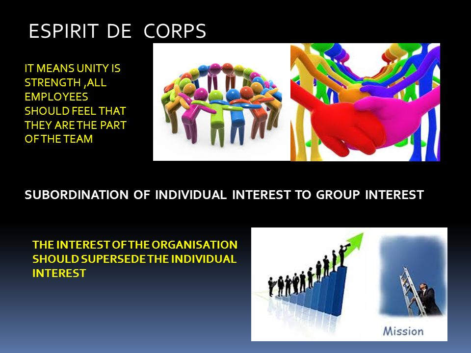 ESPIRIT DE CORPS SUBORDINATION OF INDIVIDUAL INTEREST TO GROUP INTEREST IT MEANS UNITY IS STRENGTH,ALL EMPLOYEES SHOULD FEEL THAT THEY ARE THE PART OF THE TEAM THE INTEREST OF THE ORGANISATION SHOULD SUPERSEDE THE INDIVIDUAL INTEREST