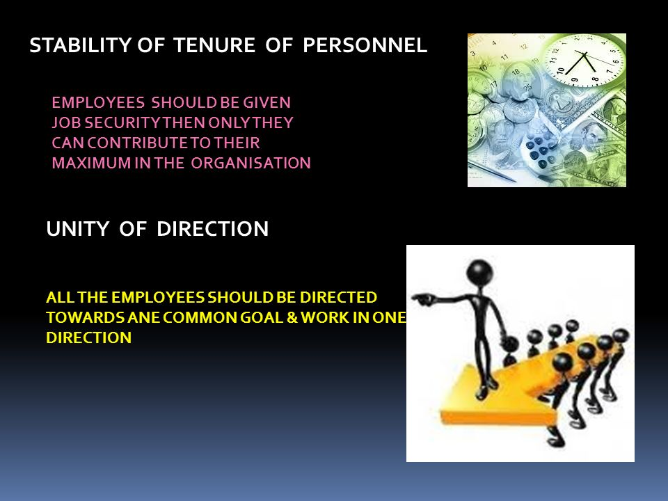 STABILITY OF TENURE OF PERSONNEL UNITY OF DIRECTION ALL THE EMPLOYEES SHOULD BE DIRECTED TOWARDS ANE COMMON GOAL & WORK IN ONE DIRECTION EMPLOYEES SHOULD BE GIVEN JOB SECURITY THEN ONLY THEY CAN CONTRIBUTE TO THEIR MAXIMUM IN THE ORGANISATION