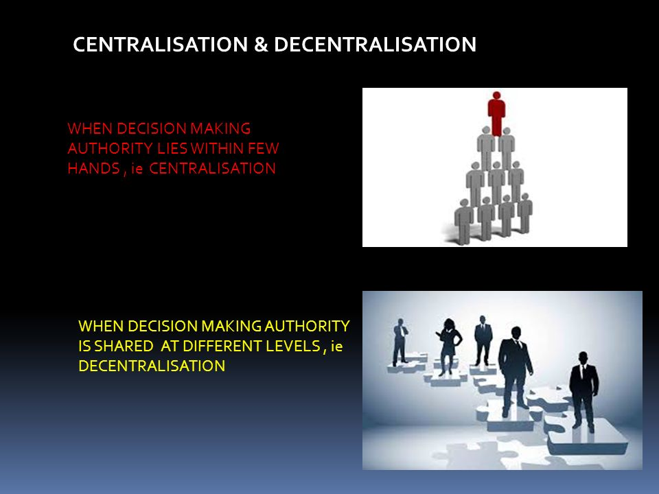 CENTRALISATION & DECENTRALISATION WHEN DECISION MAKING AUTHORITY LIES WITHIN FEW HANDS, ie CENTRALISATION WHEN DECISION MAKING AUTHORITY IS SHARED AT DIFFERENT LEVELS, ie DECENTRALISATION