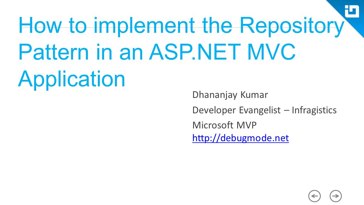 How to implement the repository pattern in an asp mvc 1 how to implement the repository pattern in an asp mvc application dhananjay kumar developer evangelist infragistics microsoft mvp baditri Image collections