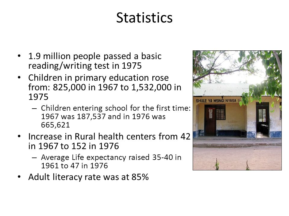 Statistics 1.9 million people passed a basic reading/writing test in 1975 Children in primary education rose from: 825,000 in 1967 to 1,532,000 in 1975 – Children entering school for the first time: 1967 was 187,537 and in 1976 was 665,621 Increase in Rural health centers from 42 in 1967 to 152 in 1976 – Average Life expectancy raised 35-40 in 1961 to 47 in 1976 Adult literacy rate was at 85%