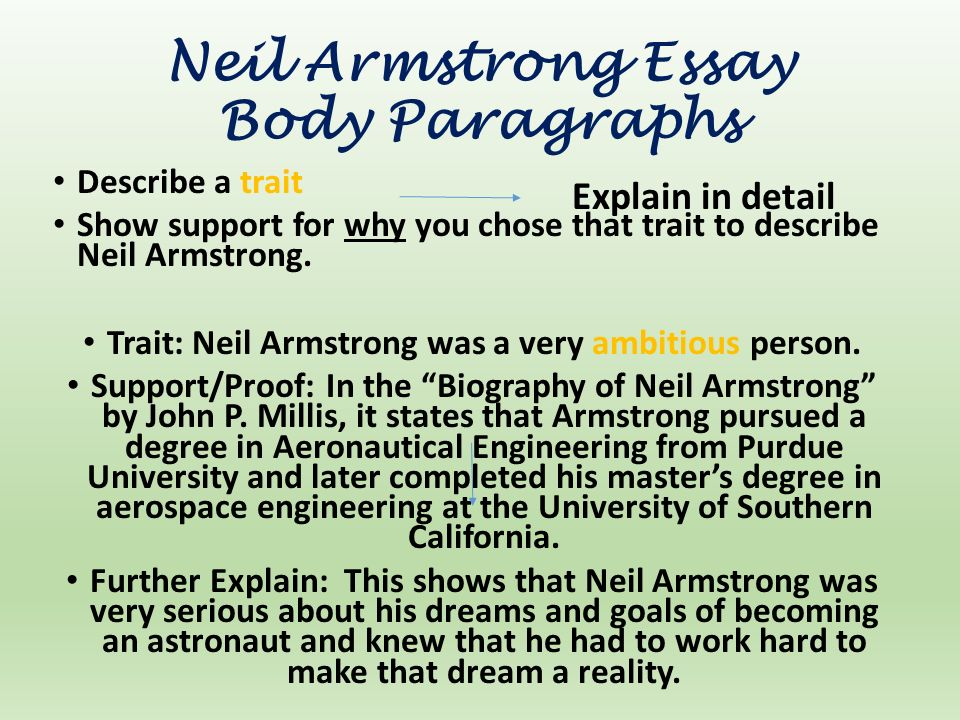prompt topic which character traits can you justify that neil  neil armstrong essay body paragraphs describe a trait show support for why you chose that trait
