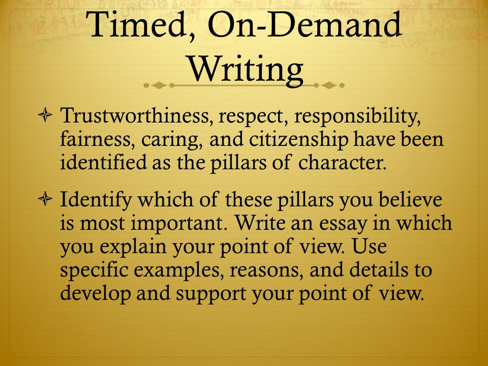 do now  please get your writer s notebook and open it to your on  timed on demand writing  trustworthiness respect responsibility fairness caring
