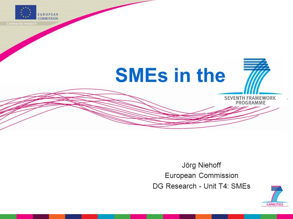 Jörg Niehoff European Commission DG Research - Unit T4: SMEs SMEs in the