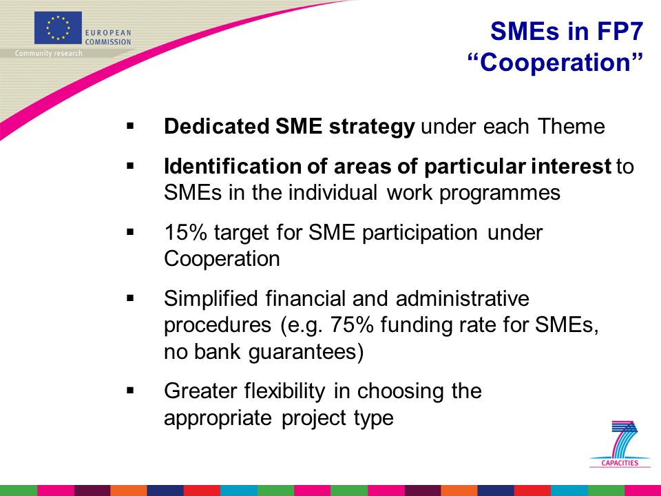  Dedicated SME strategy under each Theme  Identification of areas of particular interest to SMEs in the individual work programmes  15% target for SME participation under Cooperation  Simplified financial and administrative procedures (e.g.