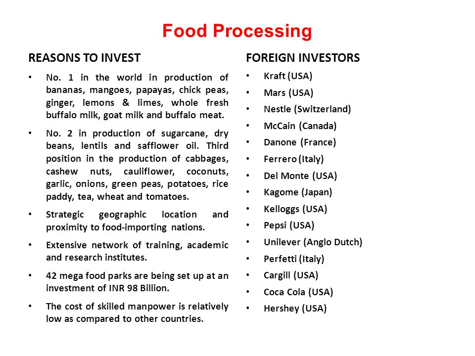 Food Processing REASONS TO INVEST No.